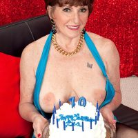 70 MILF Bea Cummins revealing big all natural mature tits on her birthday