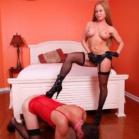 Busty stocking and high heel clad wife Nikki Delano face fucking sissy before pegging
