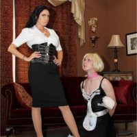 Dominant brunette wife Emmanuelle London humiliating crossdressing sissy maid
