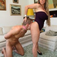 High heel attired Holly Halston having collared sissy lick eat out pussy
