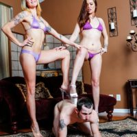 Leggy bikini clad chicks Sophia and Lucille humiliate ass licking subby hubby