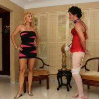 Leggy blonde wife Charlee Chase instructing crossdressing sissy maid