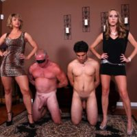 Leggy wives Cadence Lux and Brianna pegging subby hubbies on bondage table