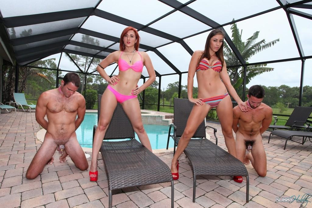 Leggy wives in high heels Rilynn and Amadahy having subby hubbies lick ass
