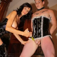Busty brunette wife Alexis Faux having sexy legs and pussy attended to by sissy maid