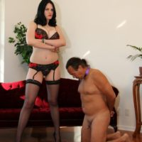 Clothed brunette wife Shae Fatale hog tieing submissive husband in high heels