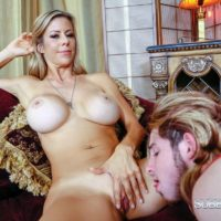 Leggy blonde pornstar Alexis Fawx having barefeet licked by crossdresser in lingerie
