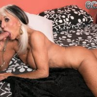 Over 60 MILF Sally D'Angelo flashing upskirt panties before giving hardcore BJ