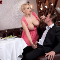 Blonde babe Angel Wicky baring nice hanging melons during doggystyle sex