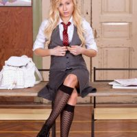 Blonde schoolgirl Vanessa Staylon flashing upskirt panties before baring bald cunt