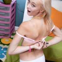 Blonde spinner Maddy Rose revealing tiny teen tits in white underwear