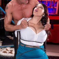 Brunette babe Elle Flynn bound with rope while enduring MMF nipple licking
