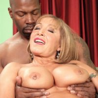 Busty blonde MILF over 60 Luna Azul banged by big black cock during interracial MMF