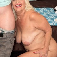 Chubby 60 plus MILF Vikki Vaughn exposing fat older lady ass and large breasts