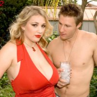 Chubby blonde babe Shyla Shy revealing massive knockers and nipples outdoors