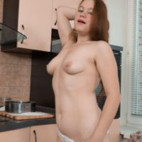 European brunette amateur Elsa Hanemer showing off hairy armpits and beaver