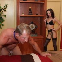 Leggy blonde dominant Haily Young forcing man to submit to her femdom wishes