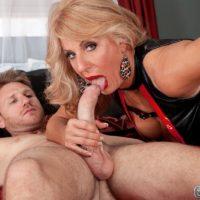 Leggy blonde granny Phoenix Skye giving large cock handjob and blowjob in high heels