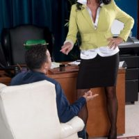 Stocking and skirt garbed granny Rita Daniels stripping down to lingerie in office