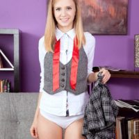 Teen cutie Rachel James flashing upskirt schoolgirl panties before baring flat chest