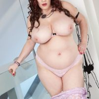BBW solo model Roxee Robinson revealing massive all natural hangers and panties