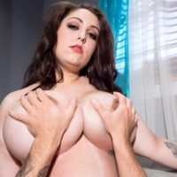 Brunette BBW Allie Pearson having huge all natural boobs sucked and fondled