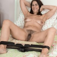 Brunette MILF Kaysy releasing small tits and wide open beaver from sexy lingerie