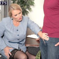 Chunky lady over 60 Alice licking and giving large cock handjob in office place