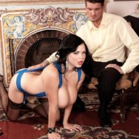 Dark haired babe Shione Cooper licking cock while flaunting nice melons in nylons