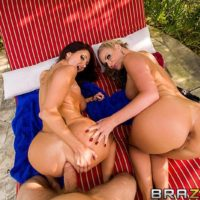 MILF pornstars Phoenix Marie and Ava Addams offer big butts for outdoors anal sex