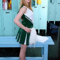 Redhead teen cheerleader Maci More loosing nice young girl tits from white bra