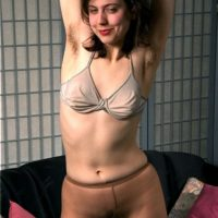 European amateur loosing really hairy cunt from white panties and pantyhose