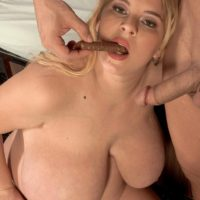 Pregnant blonde plumper Sunshine having big tits freed by male nurse before sex