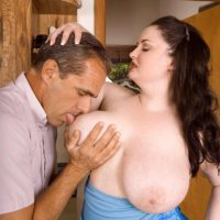 BBW pornstar Monique L'Amour tit fucking and licking cock in kitchen before sex