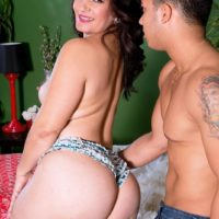 Brunette chick Sabrina Santos facesitting man on bed with her big white ass