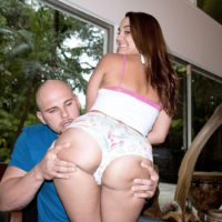 Busty chick Marie Jade having big butt freed from shorts for doggystyle fucking