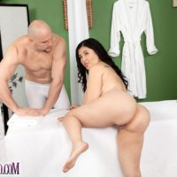 Chunky brunette MILF Daylene Rio getting fucked by masseuse on massage table