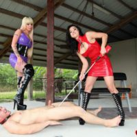 Cruel women Kimmy and Alexia torture collared male slave with electroshock device