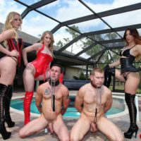 Hot chicks Vanessa, Alexa and Rydell abusing collared submissive men in latex boots