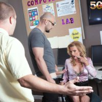 Over 50 blonde MILF teacher Amanda Verhooks caught giving blowjob in classroom