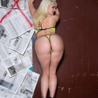 Platinum blonde MILF Layla Price jerking suction dildos at gloryhole in bikini and heels