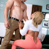Sexy ebony chick Mandy Rivers flaunting hot ass in pink yoga pants and high heels