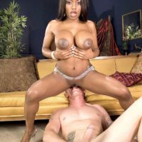 Black MILF pornstar Jada Fire tit smothering white dude before deepthroating cock