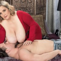 Blonde BBW Cami Cooper giving massage before baring huge tits for nipple licking