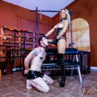 Blonde dominant Alexis Fawx face fucking her sissy hubby with strapon in latex boots