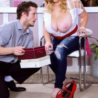 Busty blonde BBW Mya Blair jerking and blowing cock in ripped blue jeans