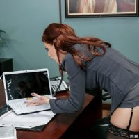 MILF pornstar Britney Amber getting ass fucked wearing stockings on office desk