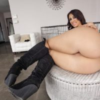 MILF pornstar Madison Rose released from cage for ass fucking in knee high boots
