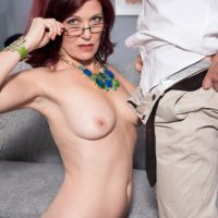 Older lady Dana Devereaux seducing younger man for sex wearing glasses