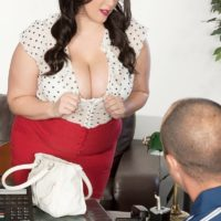 Brunette BBW Angel DeLuca having her big tits exposed while getting stripped naked